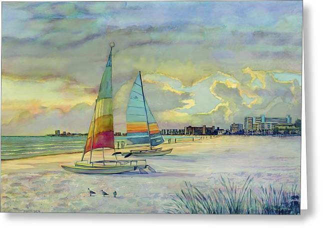 Crescent Beach Hobies at Sunset Greeting Card by Shawn McLoughlin