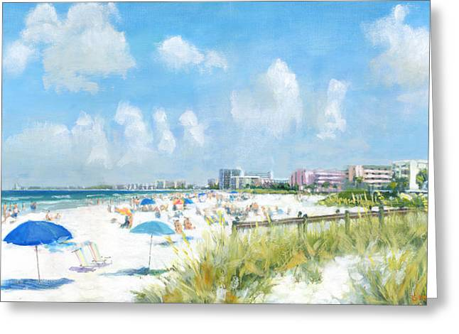 Umbrella Greeting Cards - Crescent Beach on Siesta Key Greeting Card by Shawn McLoughlin