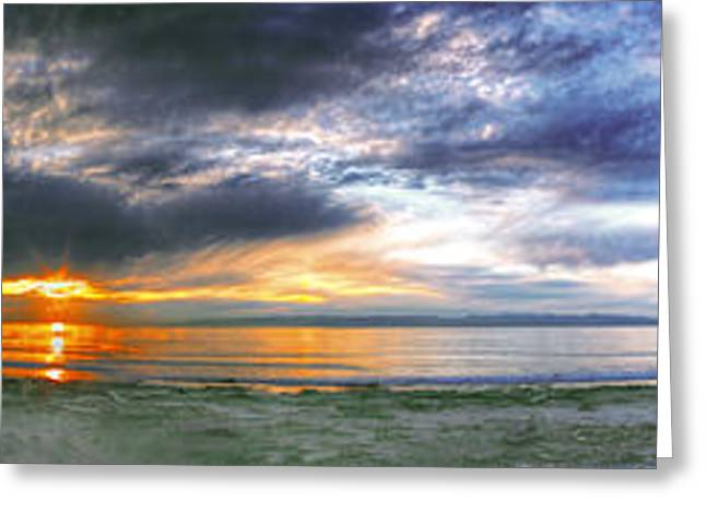Glass Wall Greeting Cards - Crescent Beach Sunset Panoramic Greeting Card by Rod Mathis