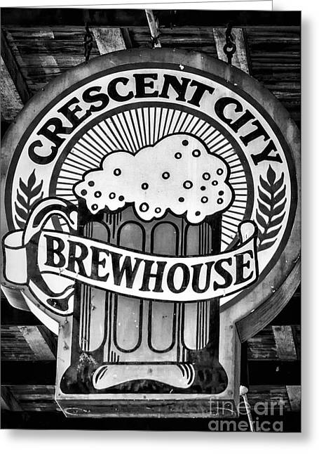 French Quarter Greeting Cards - Crescent City Brewhouse - BW Greeting Card by Kathleen K Parker