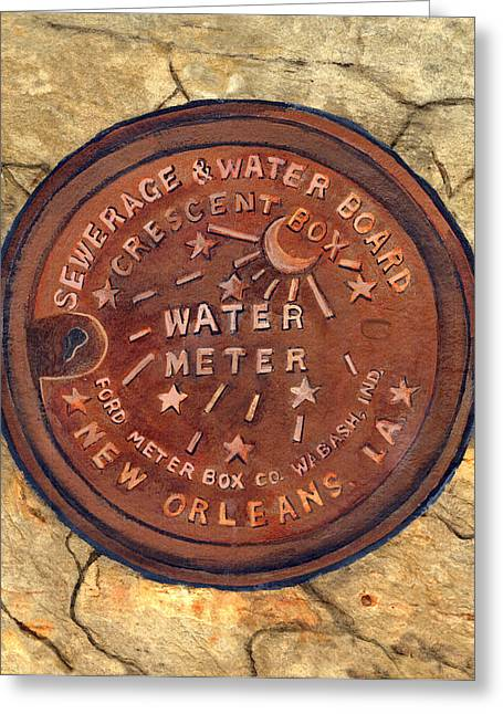 Crescent City Greeting Cards - Crescent City Water Meter Greeting Card by Elaine Hodges