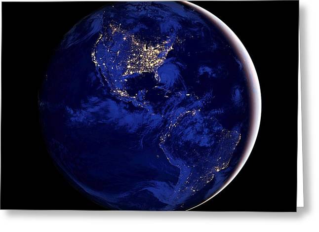 Planet Map Greeting Cards - Crescent Earth Greeting Card by Benjamin Yeager