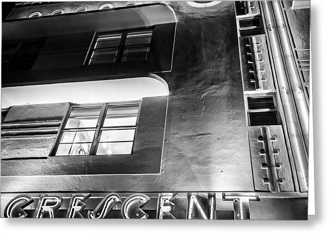 1930s Greeting Cards - Crescent Hotel Art Deco District SOBE MiamI - Square - Black and White Greeting Card by Ian Monk