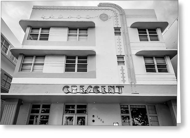 Historic District Greeting Cards - Crescent Hotel - Art Deco District - SOBE - South Beach Miami - Florida - Square - Black and White Greeting Card by Ian Monk