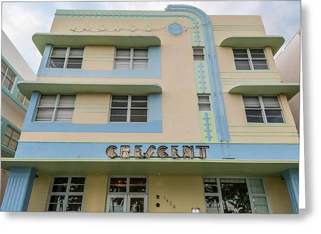 Historic District Greeting Cards - Crescent Hotel - Art Deco District - SOBE - South Beach Miami - Florida - Square Crop Greeting Card by Ian Monk