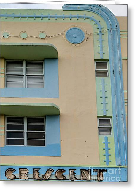 Historic District Greeting Cards - Crescent Hotel Detail - Art Deco District - SOBE - South Beach Miami - Florida Greeting Card by Ian Monk