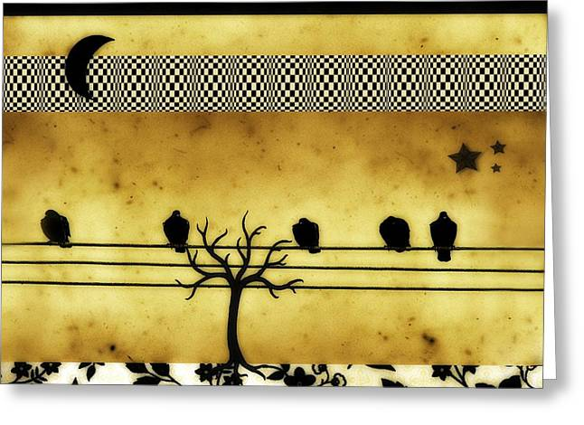 Bird On Tree Digital Greeting Cards - Crescent Moon And Birds Greeting Card by Gothicolors Donna Snyder