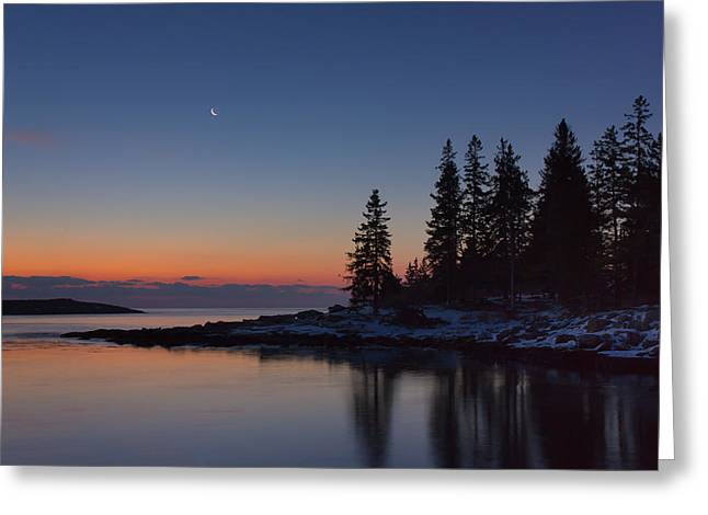 New England Ocean Greeting Cards - Crescent Moon Greeting Card by Benjamin Williamson