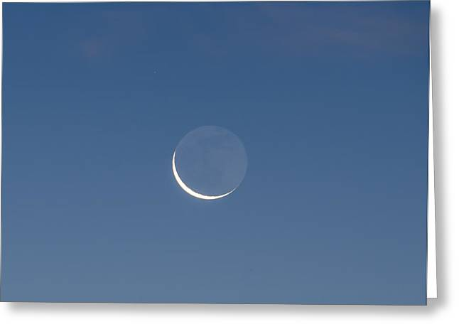 Lunar Crescent Greeting Cards - Crescent Moon in Morning Greeting Card by Bill Cannon