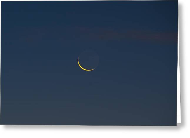 Luna Greeting Cards - Crescent Moon in the Morning Greeting Card by Bill Cannon
