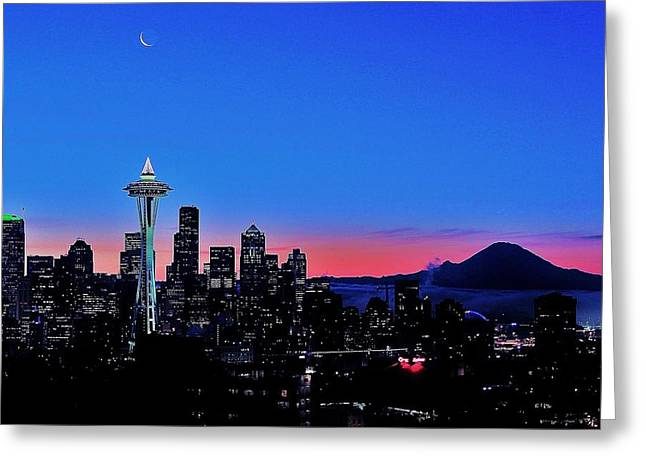 Seattle Skyline Greeting Cards - Crescent Moon Over Seattle Greeting Card by Benjamin Yeager