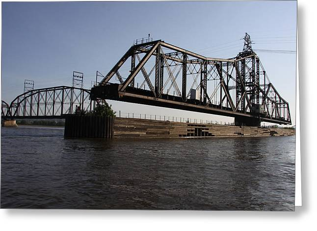 Swing Span Greeting Cards - Crescent Rail Bridge over the Mississippi River Greeting Card by Heidi Brandt