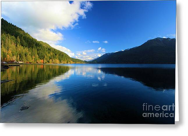 Lake Crescent Greeting Cards - Crescent Reflections Greeting Card by Adam Jewell