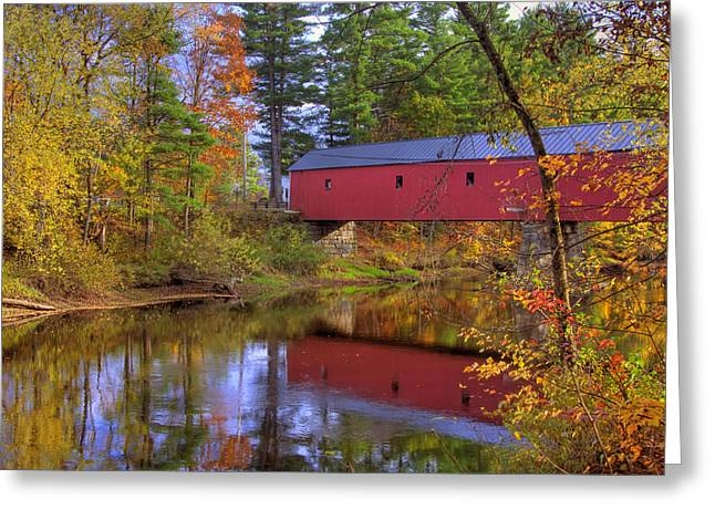 Fall River Scenes Photographs Greeting Cards - Cresson Covered Bridge 3 Greeting Card by Joann Vitali
