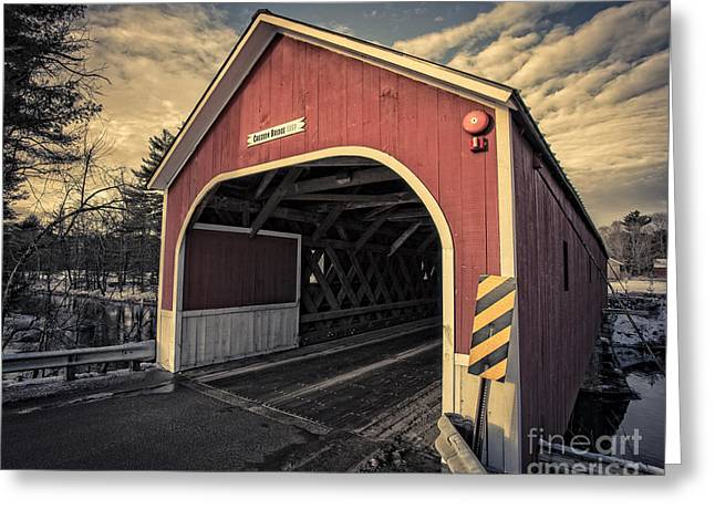 New Hampshire Greeting Cards - Cresson Covered Bridge Sawyer Crossing Greeting Card by Edward Fielding