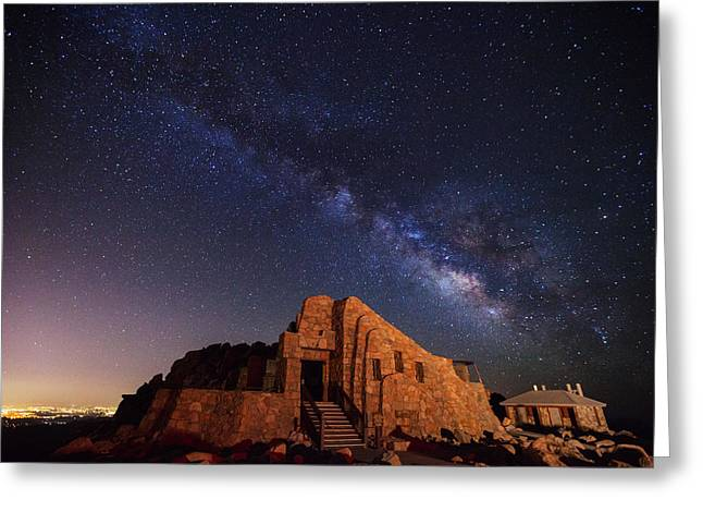 Night Photography Greeting Cards - Crest House Milky Way Greeting Card by Darren  White