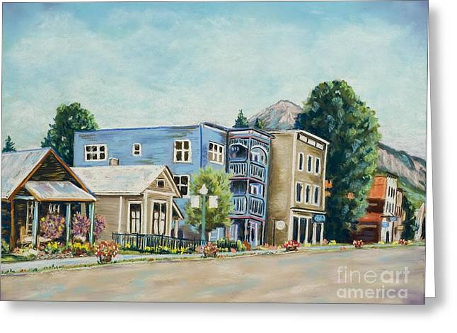 Town Pastels Greeting Cards - Crested Butte Morning Greeting Card by Judy Sprague