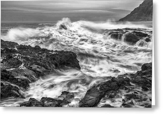 Ocean Black And White Prints Greeting Cards - Cresting Wave Greeting Card by Jon Glaser