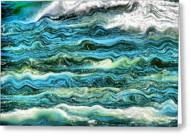 Clean Water Digital Art Greeting Cards - Cresting Waves Part 1 Greeting Card by Michelle Calkins