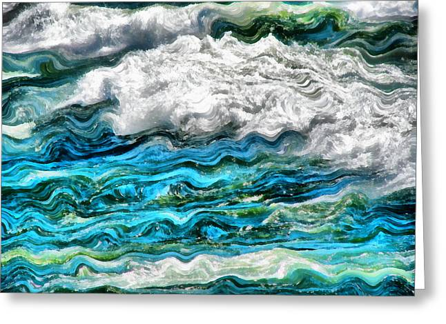 Clean Water Digital Art Greeting Cards - Cresting Waves Part 2 Greeting Card by Michelle Calkins