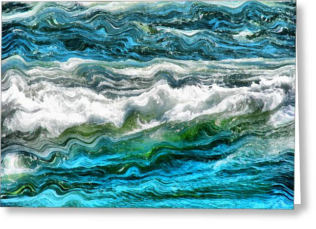 Clean Water Digital Art Greeting Cards - Cresting Waves Part 3 Greeting Card by Michelle Calkins