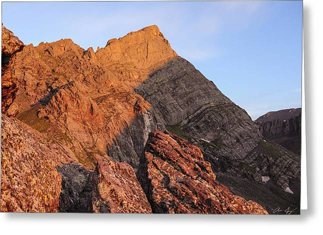 Image Of Morning Glory Greeting Cards - Crestone Needle Sunrise Greeting Card by Aaron Spong