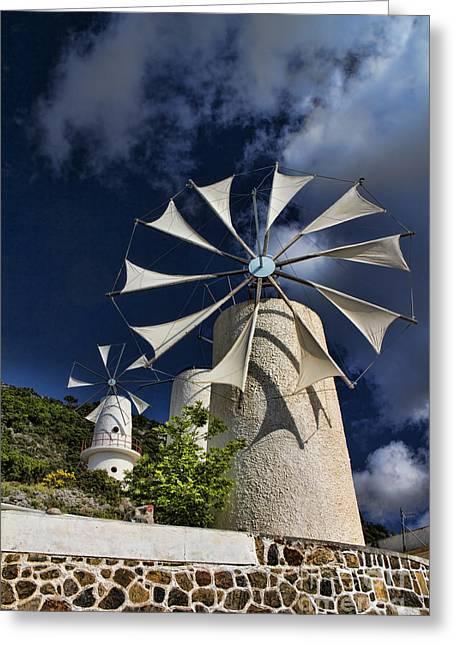 Grecian Greeting Cards - Creton Windmills Greeting Card by David Smith