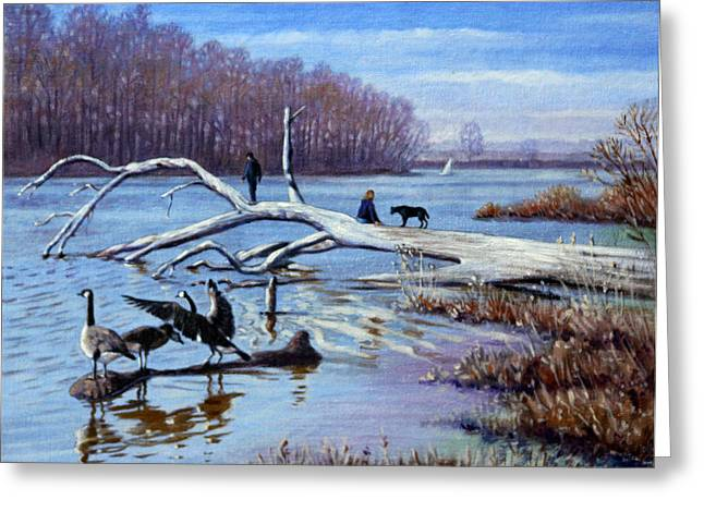 March Paintings Greeting Cards - Creve Coeur in March Greeting Card by John Lautermilch