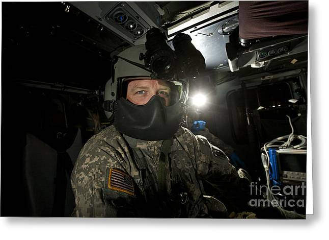 Night Angel Greeting Cards - Crew Chief In A Uh-60 Black Hawk Greeting Card by Terry Moore