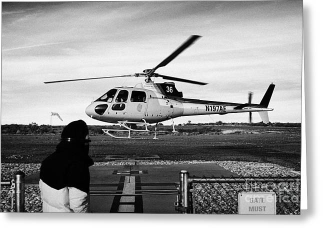 Helipad Greeting Cards - crew member watches papillon helicopter tour land on helipad at Grand canyon west airport Arizona US Greeting Card by Joe Fox