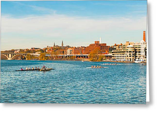 Sculling Greeting Cards - Crew Teams In Their Sculls Greeting Card by Panoramic Images