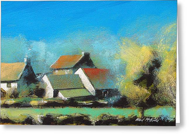 Expressionist Greeting Cards - Crich Farm Greeting Card by Neil McBride