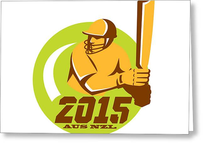 Cricket Bat Greeting Cards - Cricket 2015 Australia New Zealand Circle Greeting Card by Aloysius Patrimonio
