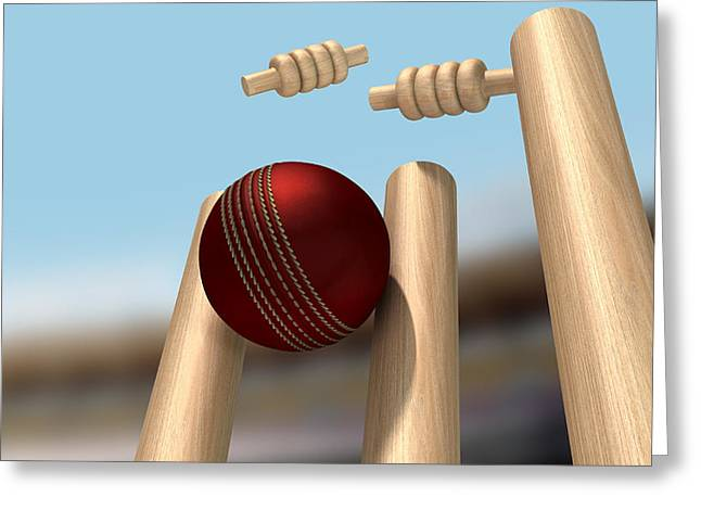 Cricket Greeting Cards - Cricket Ball Hitting Wickets Greeting Card by Allan Swart