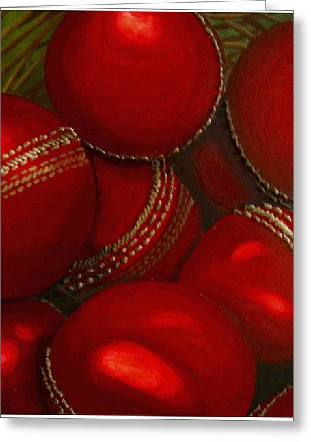 Cricket Paintings Greeting Cards - Cricket Balls for Sale Greeting Card by Cathy Savels