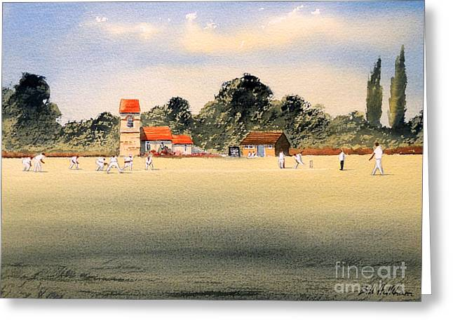 Cricket Bat Greeting Cards - Cricket Greeting Card by Bill Holkham