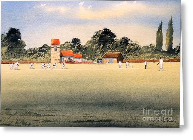 Cricket Paintings Greeting Cards - Cricket Greeting Card by Bill Holkham