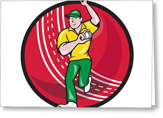 Fast Ball Digital Greeting Cards - Cricket Fast Bowler Bowling Ball Front Cartoon Greeting Card by Aloysius Patrimonio
