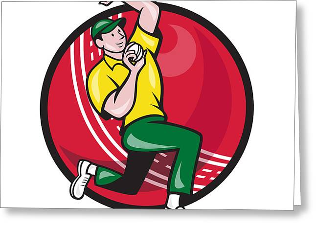 Fast Ball Digital Greeting Cards - Cricket Fast Bowler Bowling Ball Side Greeting Card by Aloysius Patrimonio