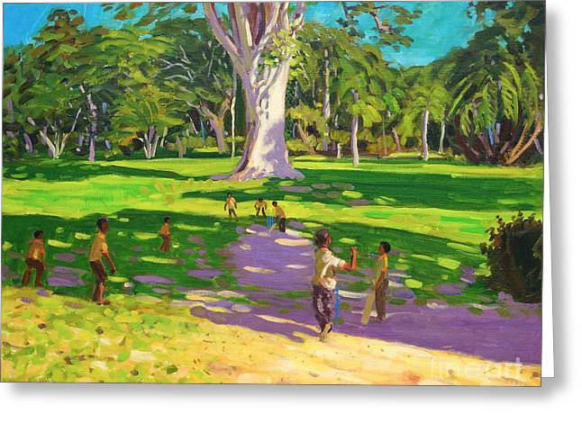 Cricket Paintings Greeting Cards - Cricket match St George Granada Greeting Card by Andrew Macara