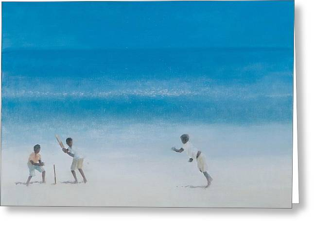 Sri Lanka Greeting Cards - Cricket On The Beach, 2012 Acrylic On Canvas Greeting Card by Lincoln Seligman