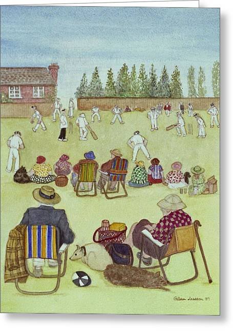 Deck Chairs Greeting Cards - Cricket On The Green, 1987 Watercolour On Paper Greeting Card by Gillian Lawson