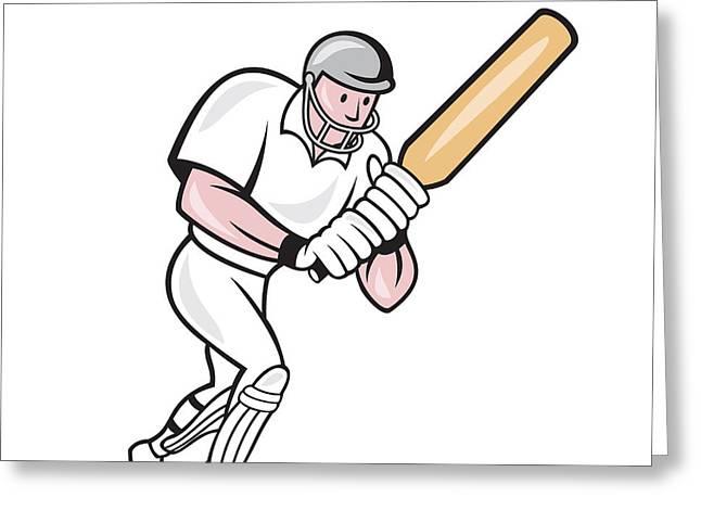 Cricket Players Greeting Cards - Cricket Player Batsman Batting Cartoon Greeting Card by Aloysius Patrimonio