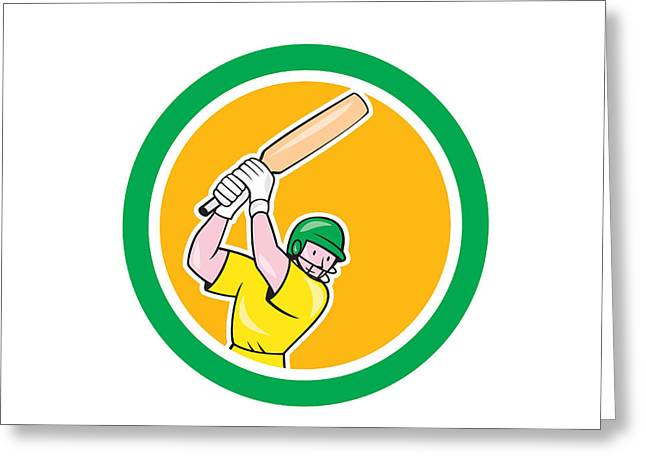 Cricket Players Greeting Cards - Cricket Player Batsman Batting Circle Cartoon Greeting Card by Aloysius Patrimonio