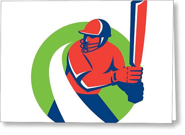 Cricket Players Greeting Cards - Cricket Player Batsman Batting Retro Greeting Card by Aloysius Patrimonio