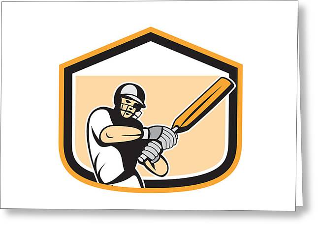 Cricket Players Greeting Cards - Cricket Player Batsman Batting Shield Cartoon Greeting Card by Aloysius Patrimonio