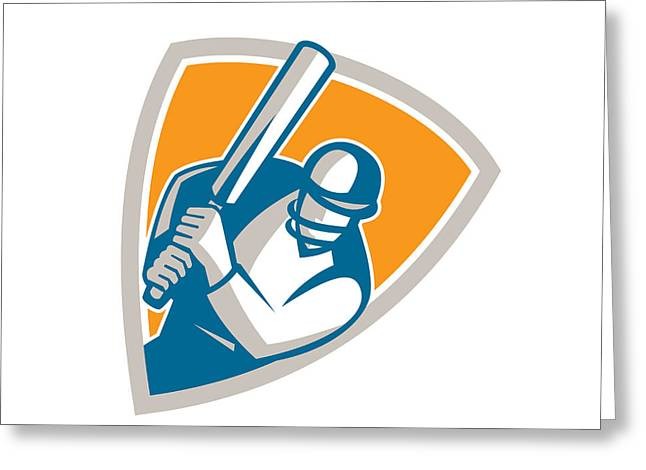 Cricket Bat Greeting Cards - Cricket Player Batsman Batting Shield Retro Greeting Card by Aloysius Patrimonio