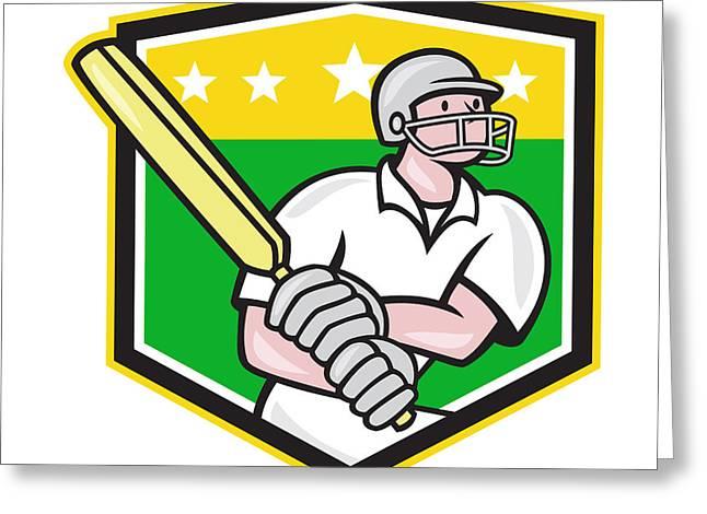 Cricket Players Greeting Cards - Cricket Player Batsman Batting Shield Star Greeting Card by Aloysius Patrimonio