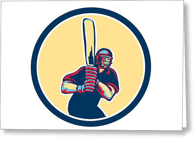 Cricket Bat Greeting Cards - Cricket Player Batsman Circle Retro Greeting Card by Aloysius Patrimonio