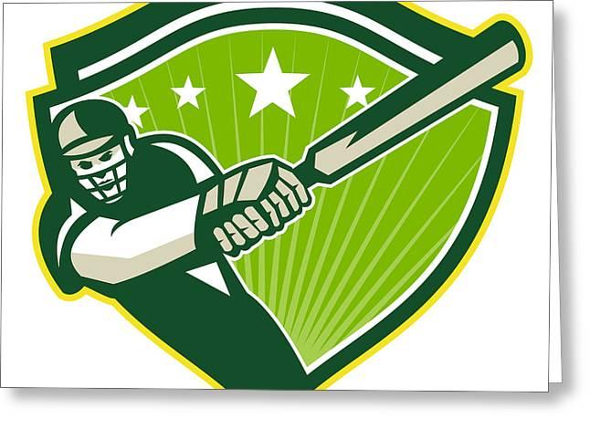Cricket Bat Greeting Cards - Cricket Player Batsman Star Crest Retro Greeting Card by Aloysius Patrimonio